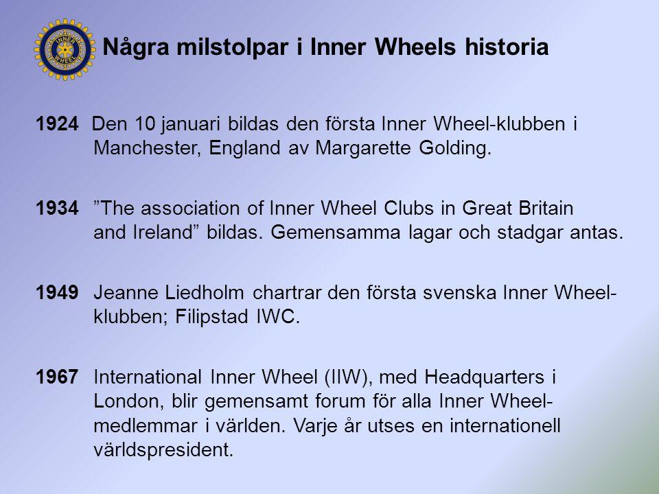 """Några milstolpar i Inner Wheels historia 1924 Den 10 januari bildas den första Inner Wheel-klubben i Manchester, England av Margarette Golding. 1934""""T"""