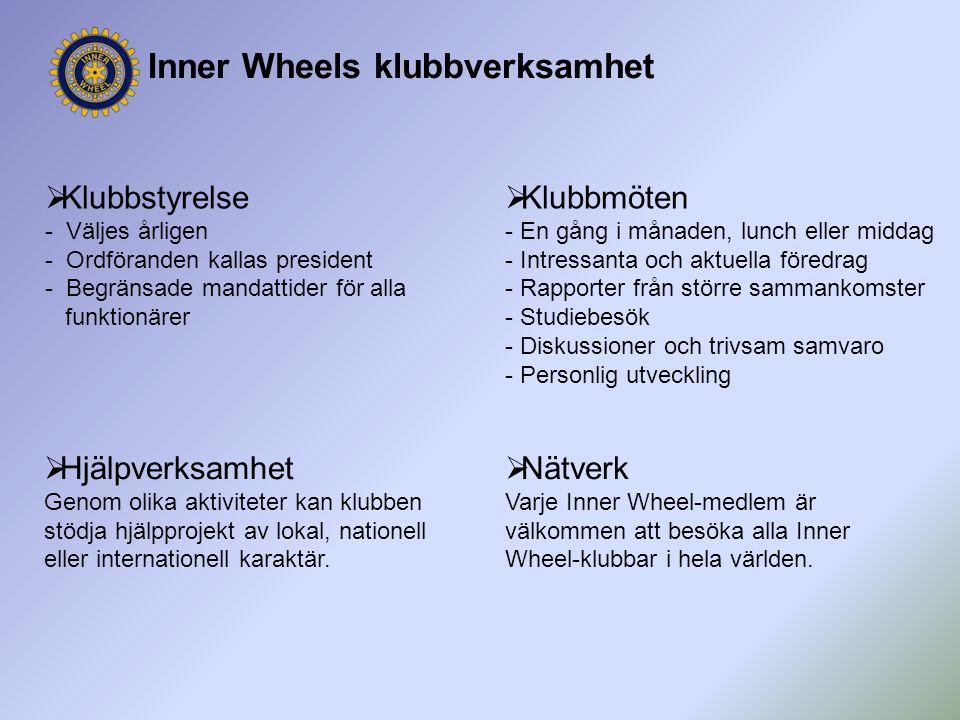 Inner Wheels klubbverksamhet  Klubbmöten - En gång i månaden, lunch eller middag - Intressanta och aktuella föredrag - Rapporter från större sammanko