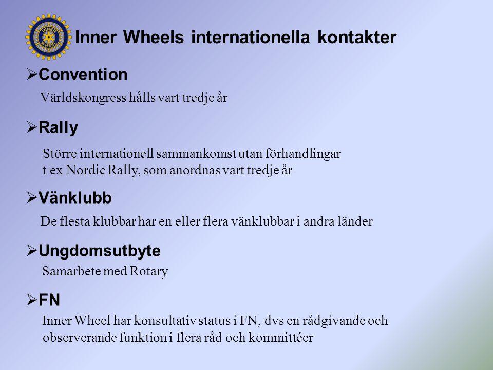  Convention Världskongress hålls vart tredje år  Rally Större internationell sammankomst utan förhandlingar t ex Nordic Rally, som anordnas vart tre