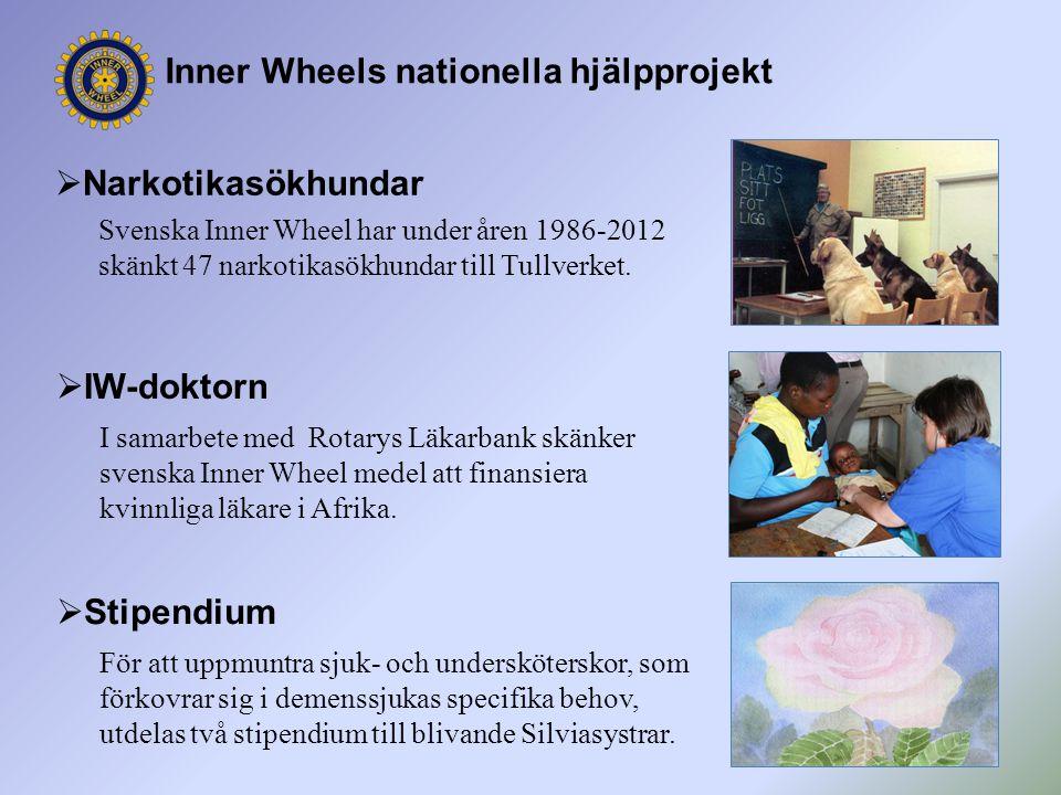 Inner Wheels nationella hjälpprojekt  Narkotikasökhundar Svenska Inner Wheel har under åren 1986-2012 skänkt 47 narkotikasökhundar till Tullverket. 