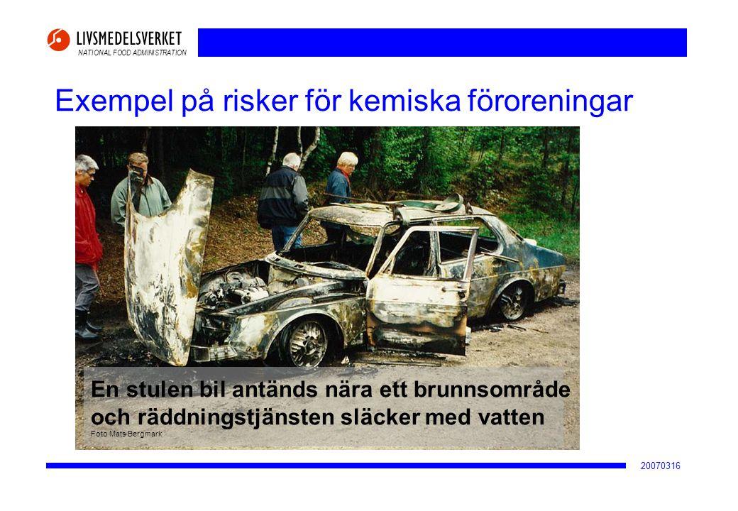 NATIONAL FOOD ADMINISTRATION 20070316 Exempel på risker för kemiska föroreningar Grundvattentäkt En stulen bil antänds nära ett brunnsområde och räddn