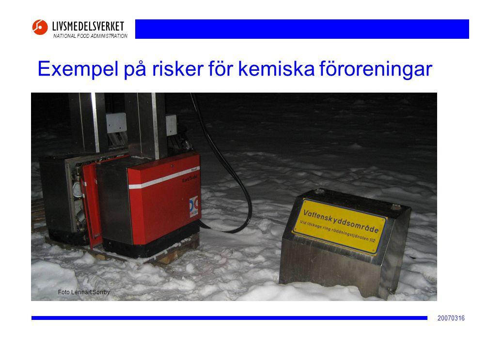NATIONAL FOOD ADMINISTRATION 20070316 Exempel på risker för kemiska föroreningar Grundvattentäkt Foto Lennart Sorrby