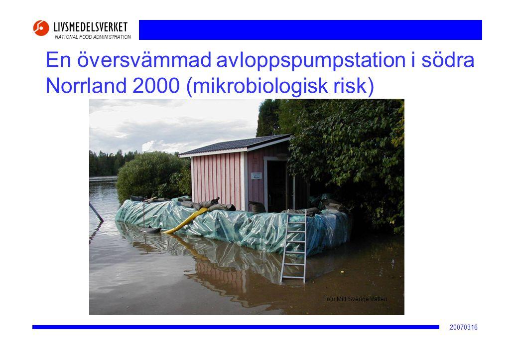NATIONAL FOOD ADMINISTRATION 20070316 En översvämmad avloppspumpstation i södra Norrland 2000 (mikrobiologisk risk) Foto Mitt Sverige Vatten