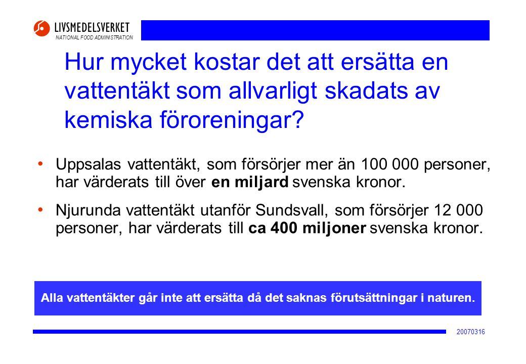 NATIONAL FOOD ADMINISTRATION 20070316 Hur mycket kostar det att ersätta en vattentäkt som allvarligt skadats av kemiska föroreningar? • Uppsalas vatte
