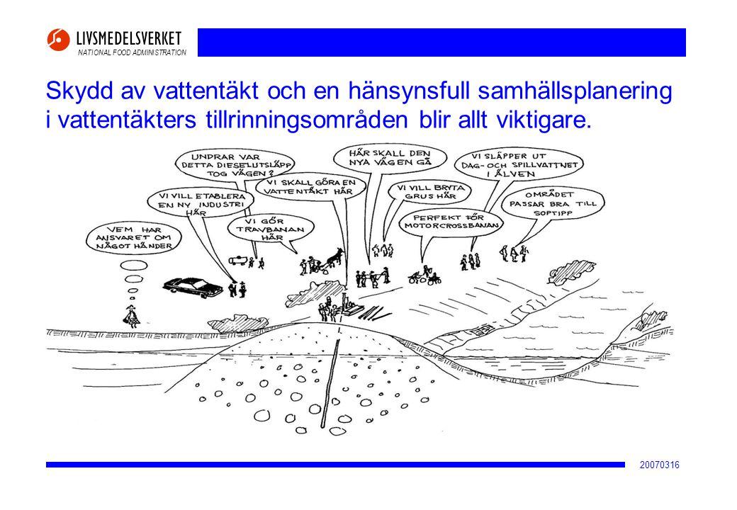 NATIONAL FOOD ADMINISTRATION 20070316 Skydd av vattentäkt och en hänsynsfull samhällsplanering i vattentäkters tillrinningsområden blir allt viktigare