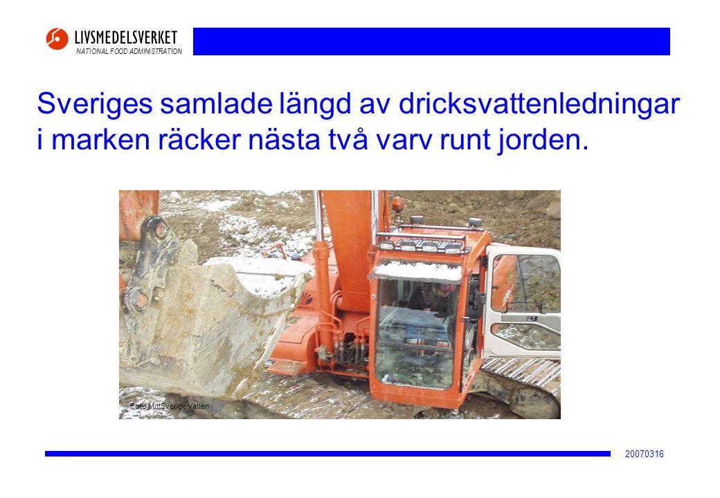 NATIONAL FOOD ADMINISTRATION 20070316 Sveriges samlade längd av dricksvattenledningar i marken räcker nästa två varv runt jorden. Foto MittSverige Vat
