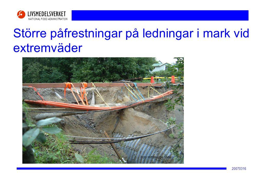 NATIONAL FOOD ADMINISTRATION 20070316 Större påfrestningar på ledningar i mark vid extremväder Foto MittSverige Vatten