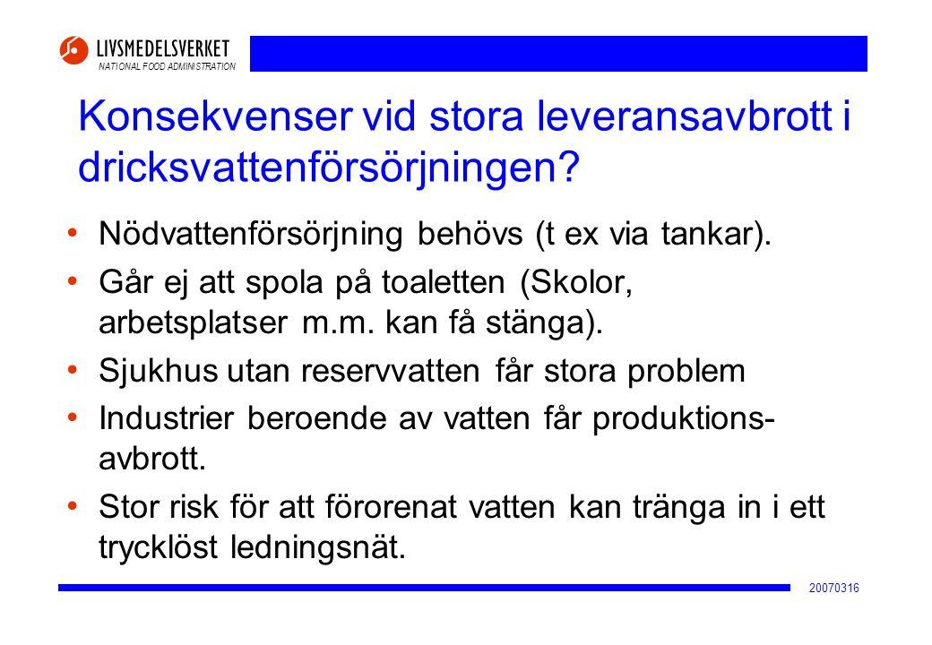 NATIONAL FOOD ADMINISTRATION 20070316 Konsekvenser vid stora leveransavbrott i dricksvattenförsörjningen? • Nödvattenförsörjning behövs (t ex via tank