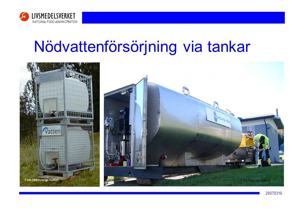 NATIONAL FOOD ADMINISTRATION 20070316 Nödvattenförsörjning via tankar Foto MittSverige Vatten Foto Mats Bergmark