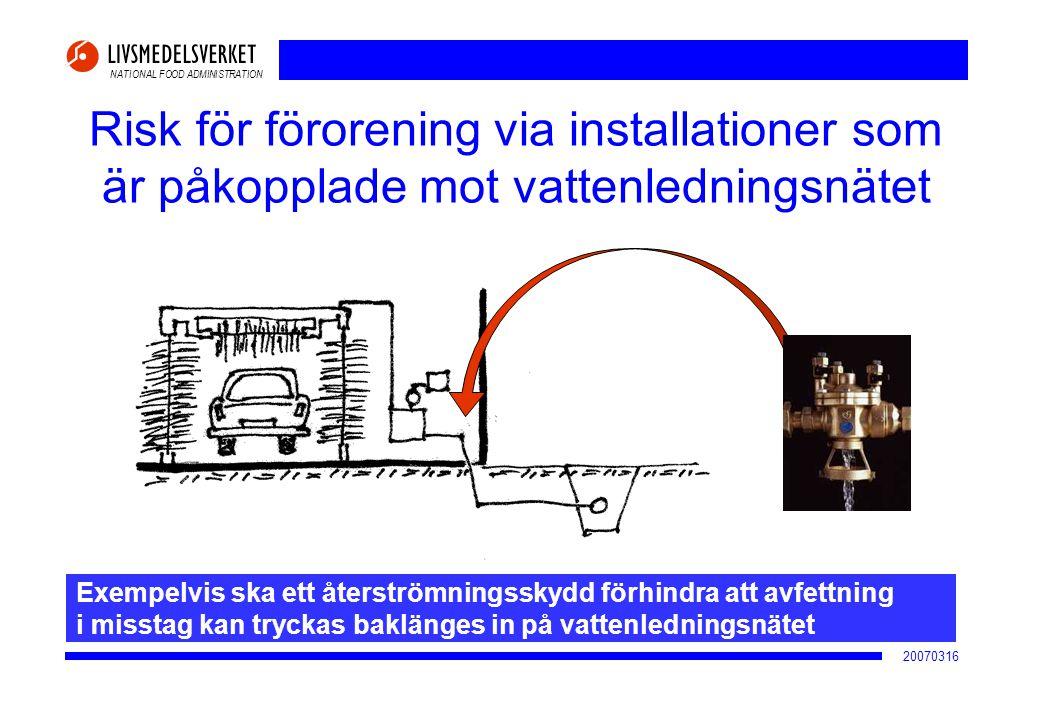 NATIONAL FOOD ADMINISTRATION 20070316 Risk för förorening via installationer som är påkopplade mot vattenledningsnätet Exempelvis ska ett återströmnin