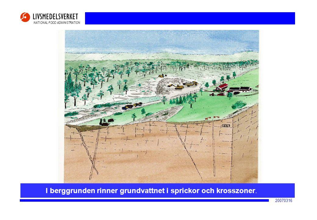 NATIONAL FOOD ADMINISTRATION 20070316 I berggrunden rinner grundvattnet i sprickor och krosszoner.