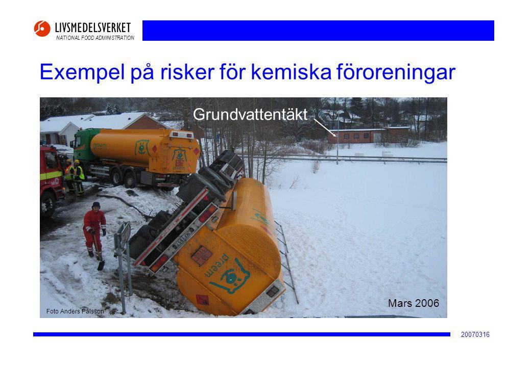 NATIONAL FOOD ADMINISTRATION 20070316 Exempel på risker för kemiska föroreningar Grundvattentäkt En stulen bil antänds nära ett brunnsområde och räddningstjänsten släcker med vatten Foto Mats Bergmark