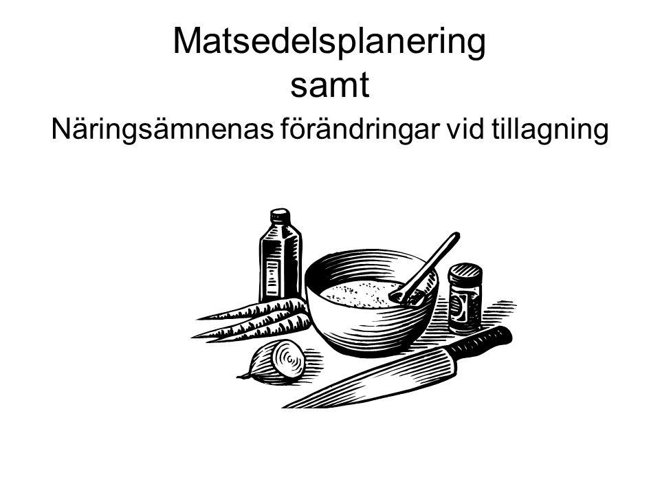 Matsedelsplanering samt Näringsämnenas förändringar vid tillagning
