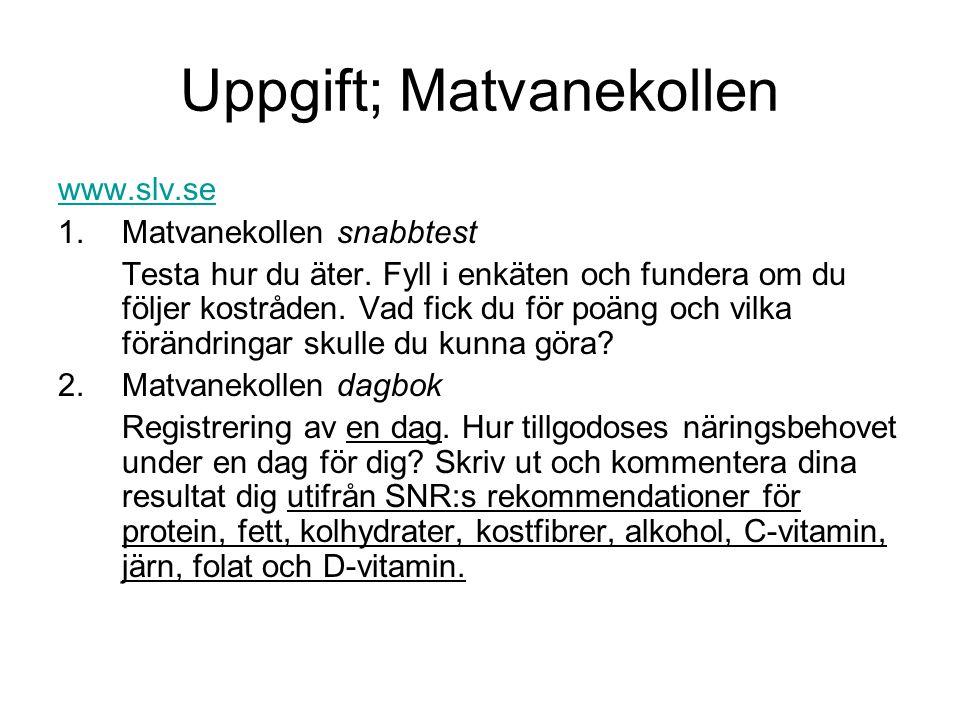 Uppgift; Matvanekollen www.slv.se 1.Matvanekollen snabbtest Testa hur du äter. Fyll i enkäten och fundera om du följer kostråden. Vad fick du för poän