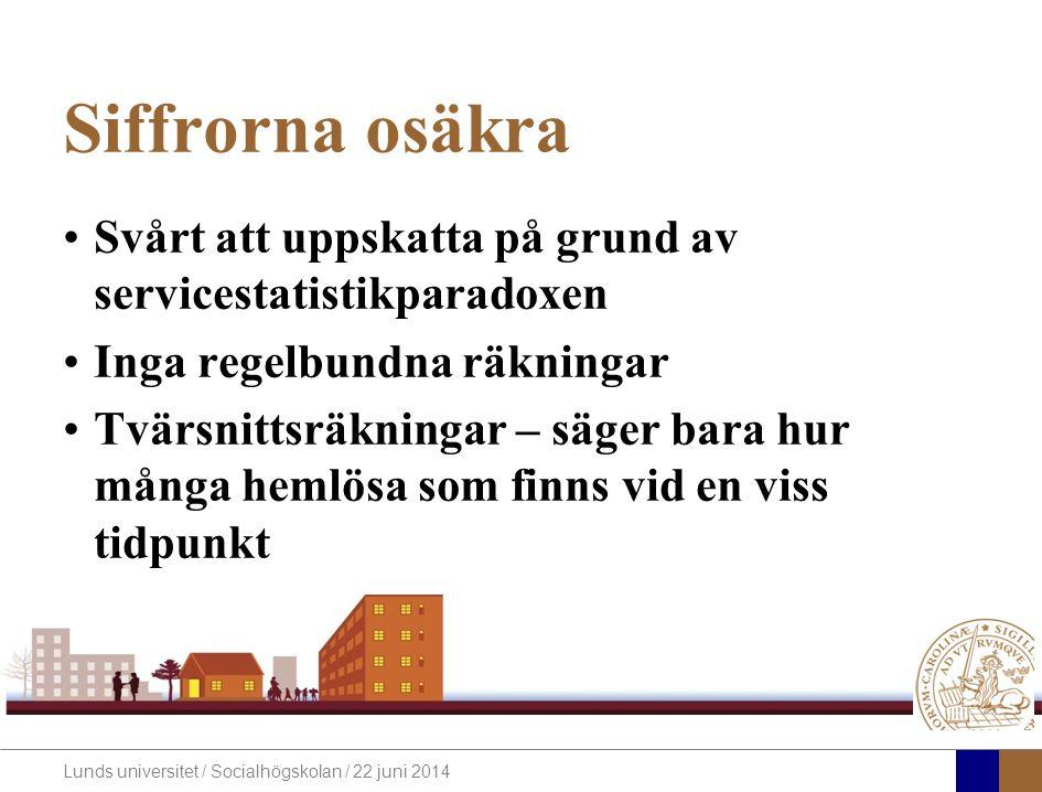 Lunds universitet / Socialhögskolan / 22 juni 2014 Siffrorna osäkra •Svårt att uppskatta på grund av servicestatistikparadoxen •Inga regelbundna räkningar •Tvärsnittsräkningar – säger bara hur många hemlösa som finns vid en viss tidpunkt