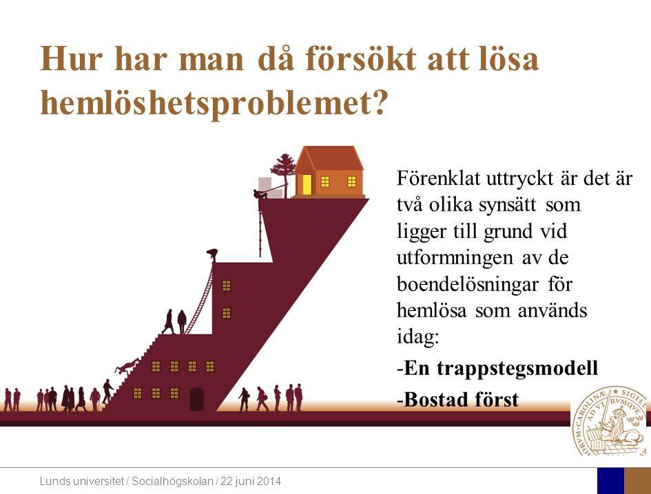 Lunds universitet / Socialhögskolan / 22 juni 2014 Hur har man då försökt att lösa hemlöshetsproblemet.
