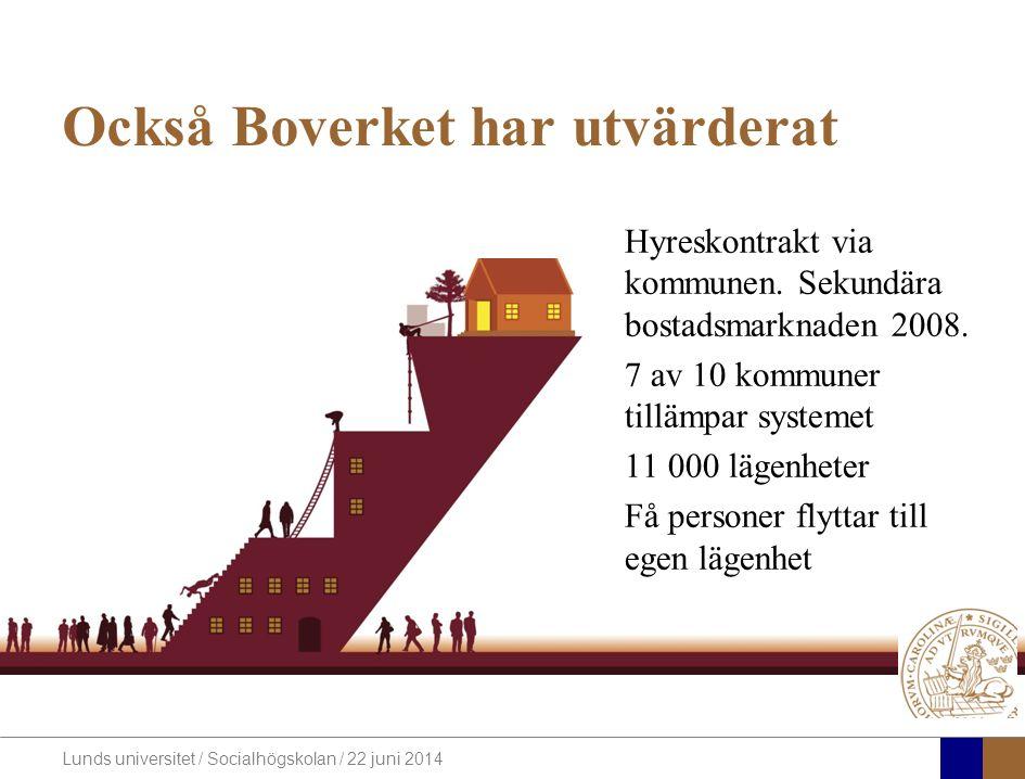Lunds universitet / Socialhögskolan / 22 juni 2014 Också Boverket har utvärderat Hyreskontrakt via kommunen.