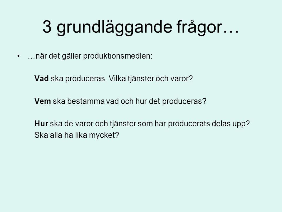 3 grundläggande frågor… •…när det gäller produktionsmedlen: Vad ska produceras. Vilka tjänster och varor? Vem ska bestämma vad och hur det produceras?