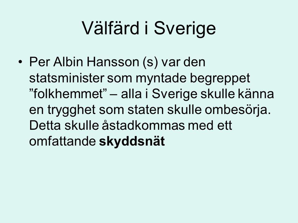 """Välfärd i Sverige •Per Albin Hansson (s) var den statsminister som myntade begreppet """"folkhemmet"""" – alla i Sverige skulle känna en trygghet som staten"""