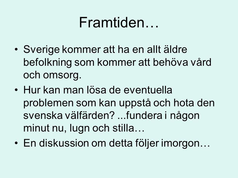 Framtiden… •Sverige kommer att ha en allt äldre befolkning som kommer att behöva vård och omsorg. •Hur kan man lösa de eventuella problemen som kan up