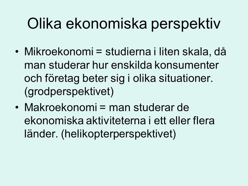 Olika ekonomiska perspektiv •Mikroekonomi = studierna i liten skala, då man studerar hur enskilda konsumenter och företag beter sig i olika situatione