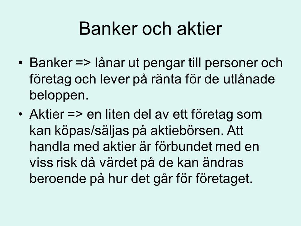 Banker och aktier •Banker => lånar ut pengar till personer och företag och lever på ränta för de utlånade beloppen. •Aktier => en liten del av ett för