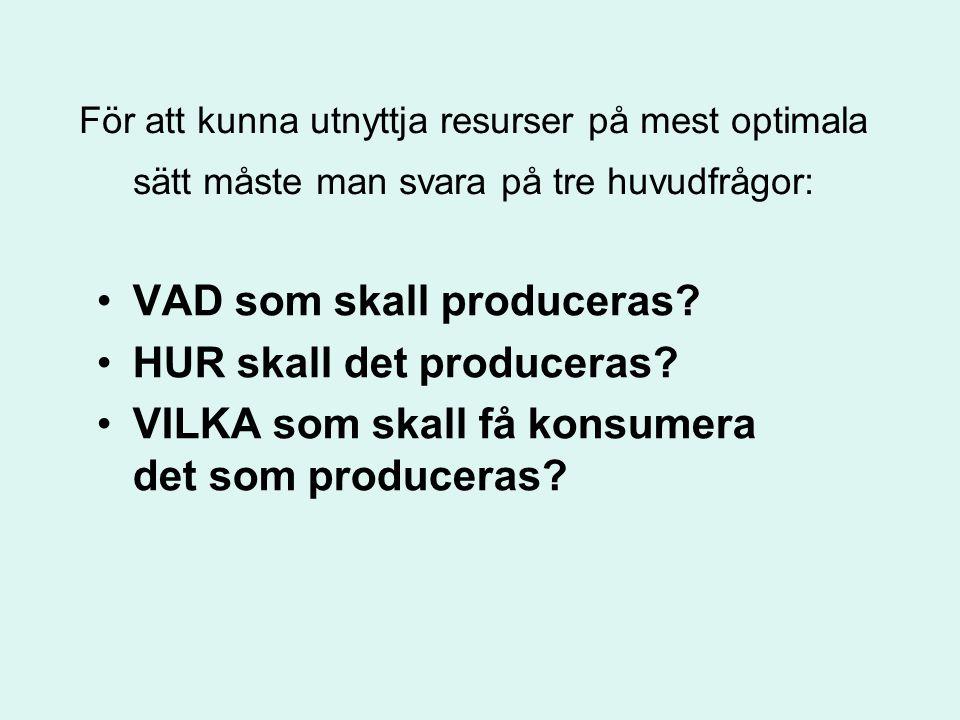 För att kunna utnyttja resurser på mest optimala sätt måste man svara på tre huvudfrågor: •VAD som skall produceras? •HUR skall det produceras? •VILKA