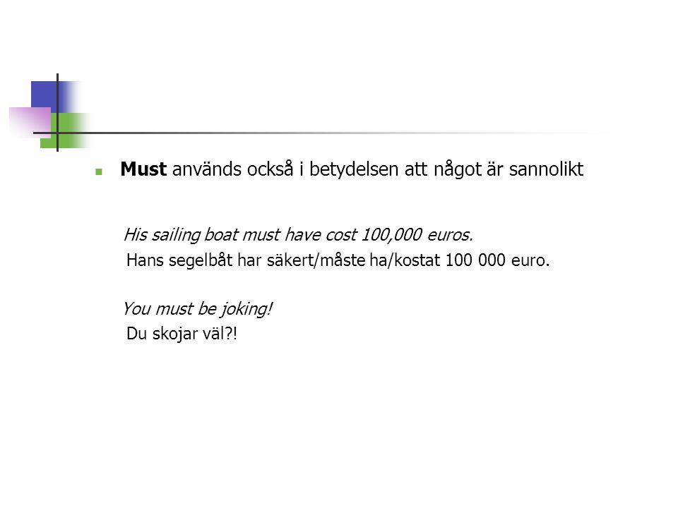  Must används också i betydelsen att något är sannolikt His sailing boat must have cost 100,000 euros.