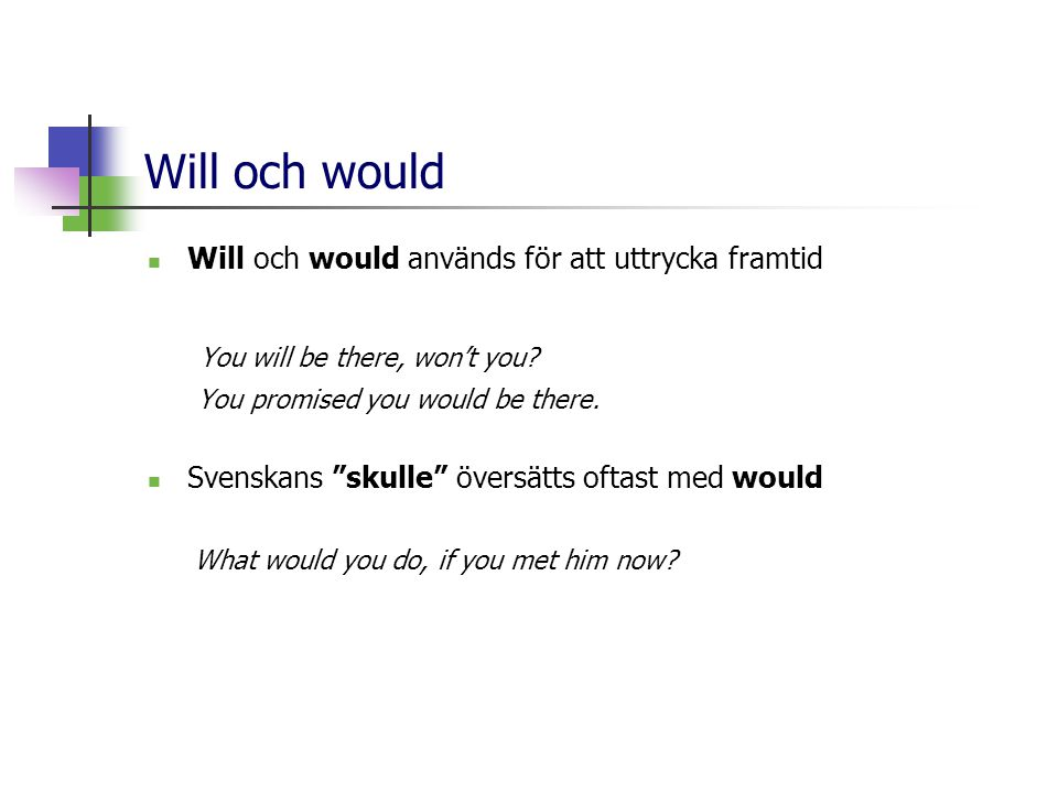 "Will och would  Will och would används för att uttrycka framtid You will be there, won't you? You promised you would be there.  Svenskans ""skulle"" ö"