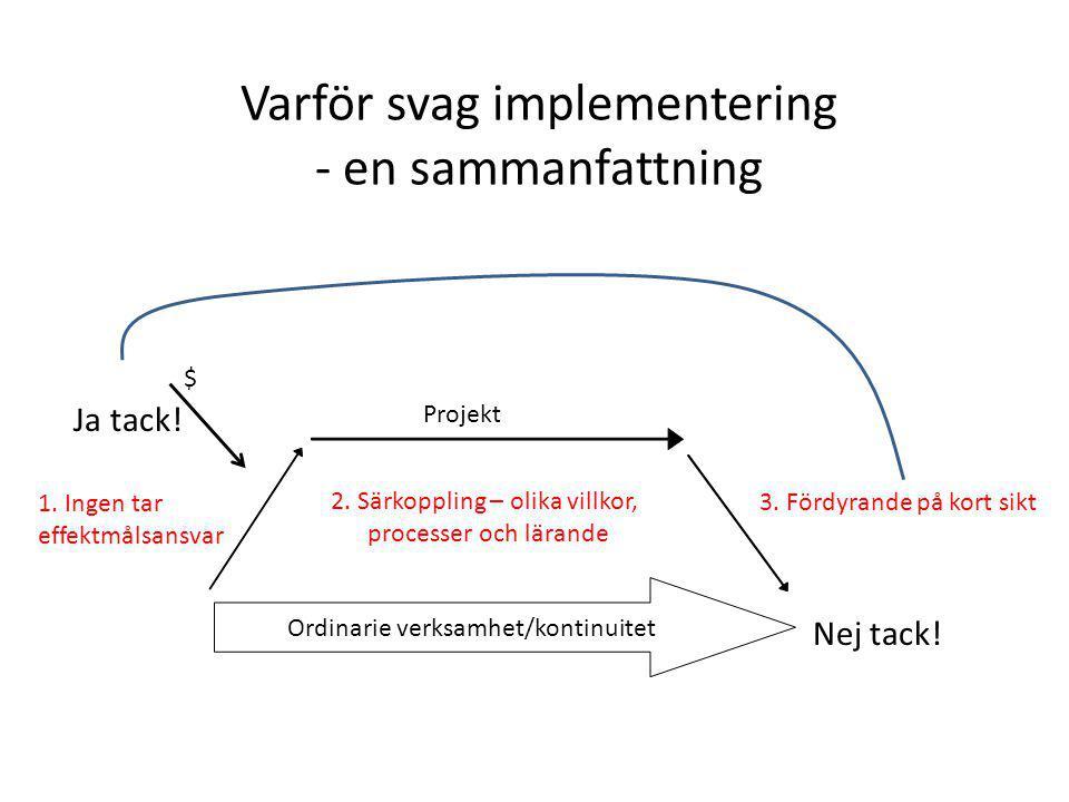 Varför svag implementering - en sammanfattning $ Ordinarie verksamhet/kontinuitet Ja tack.