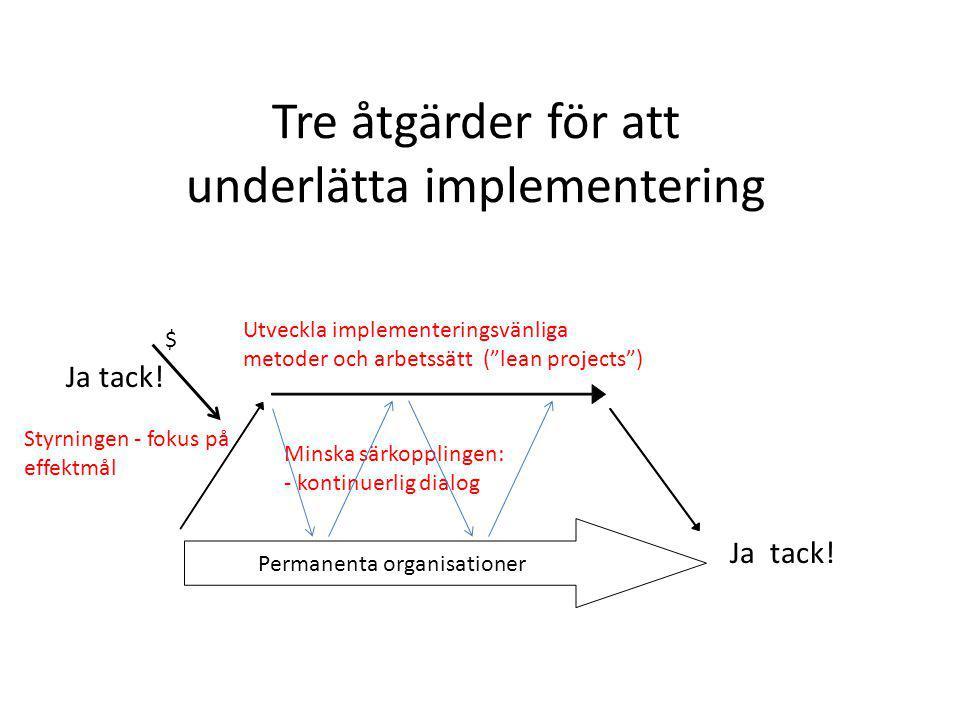 Tre åtgärder för att underlätta implementering $ Permanenta organisationer Utveckla implementeringsvänliga metoder och arbetssätt ( lean projects ) Ja tack.