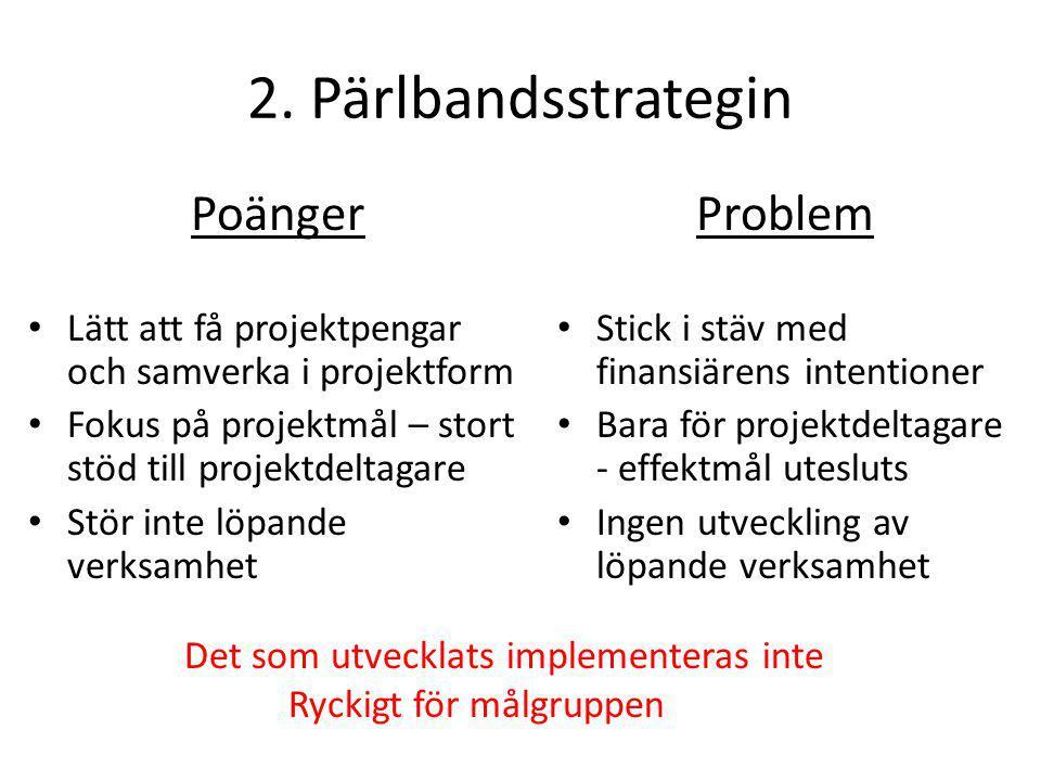 2. Pärlbandsstrategin Poänger • Lätt att få projektpengar och samverka i projektform • Fokus på projektmål – stort stöd till projektdeltagare • Stör i