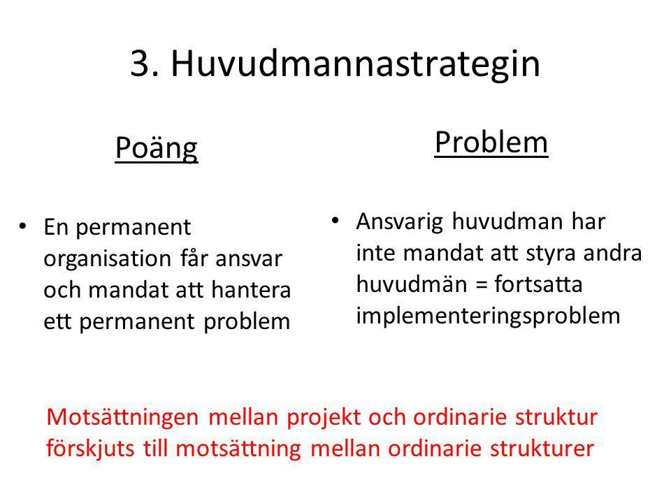 3. Huvudmannastrategin Poäng • En permanent organisation får ansvar och mandat att hantera ett permanent problem Problem • Ansvarig huvudman har inte