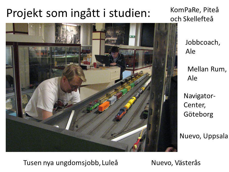 Navigator- Center, Göteborg Jobbcoach, Ale Mellan Rum, Ale Tusen nya ungdomsjobb, Luleå KomPaRe, Piteå och Skellefteå Nuevo, Uppsala Nuevo, Västerås Projekt som ingått i studien: