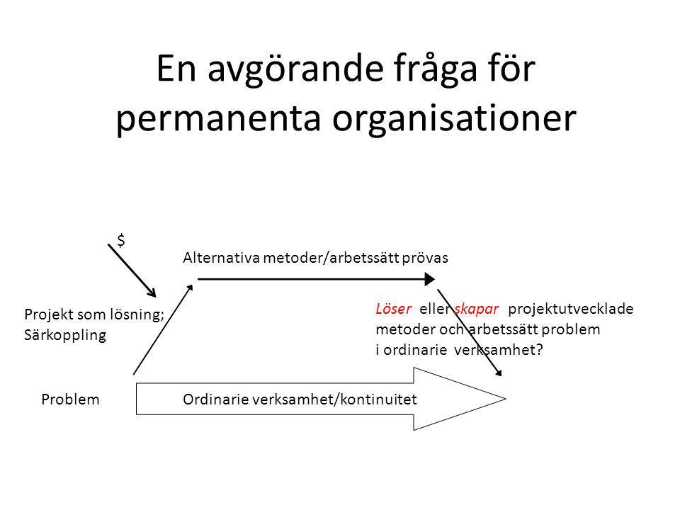 En avgörande fråga för permanenta organisationer $ Ordinarie verksamhet/kontinuitet Alternativa metoder/arbetssätt prövas Löser eller skapar projektutvecklade metoder och arbetssätt problem i ordinarie verksamhet.