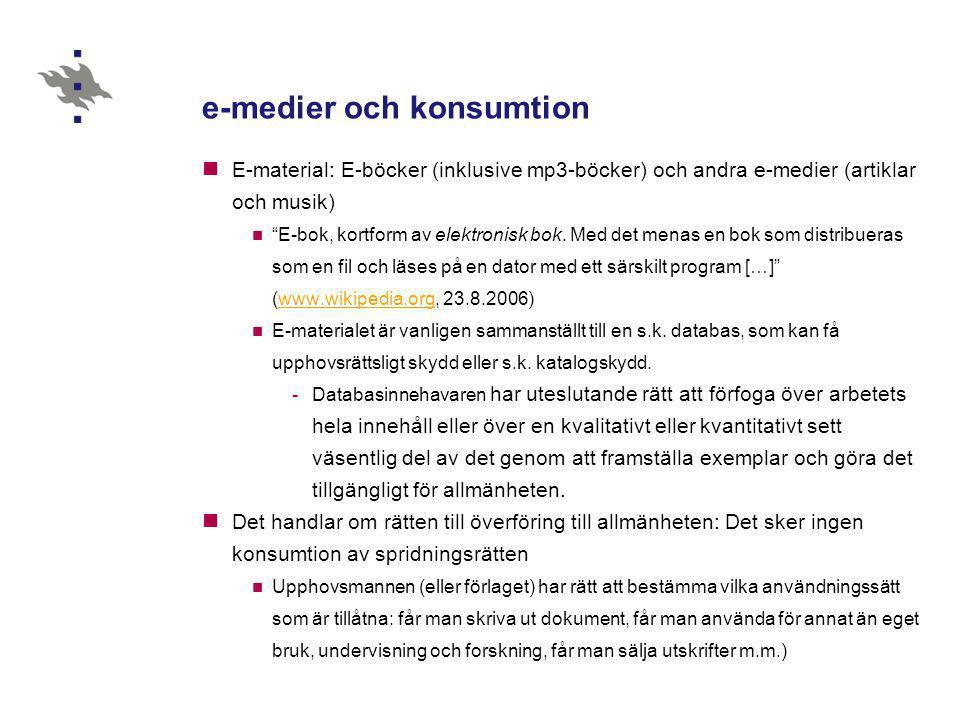 """e-medier och konsumtion  E-material: E-böcker (inklusive mp3-böcker) och andra e-medier (artiklar och musik)  """"E-bok, kortform av elektronisk bok. M"""