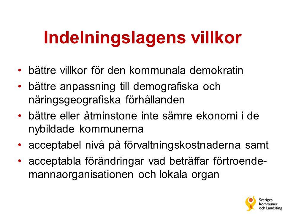 Indelningslagens villkor •bättre villkor för den kommunala demokratin •bättre anpassning till demografiska och näringsgeografiska förhållanden •bättre