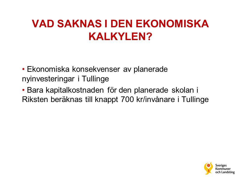 VAD SAKNAS I DEN EKONOMISKA KALKYLEN? • Ekonomiska konsekvenser av planerade nyinvesteringar i Tullinge • Bara kapitalkostnaden för den planerade skol