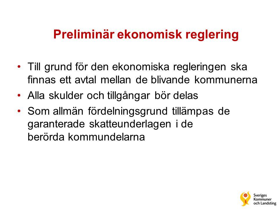 Preliminär ekonomisk reglering •Till grund för den ekonomiska regleringen ska finnas ett avtal mellan de blivande kommunerna •Alla skulder och tillgån