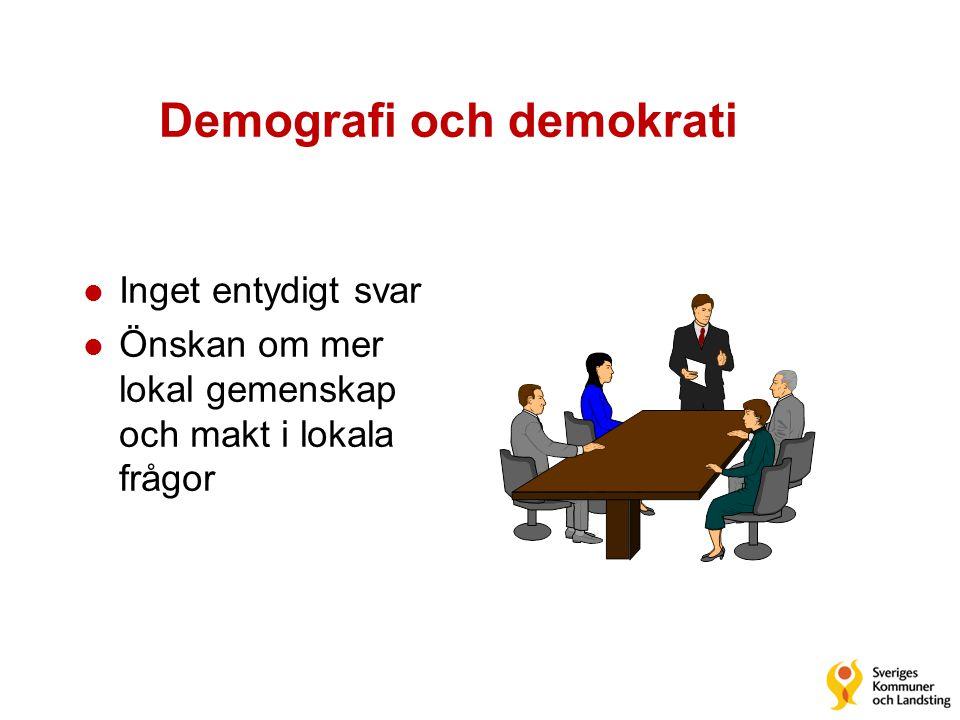 Demografi och demokrati l Inget entydigt svar l Önskan om mer lokal gemenskap och makt i lokala frågor