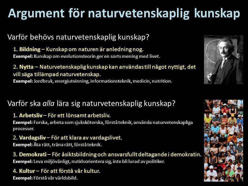 Argument för naturvetenskaplig kunskap 1. Bildning – Kunskap om naturen är anledning nog. Exempel: Kunskap om evolutionsteorin ger en sorts mening med