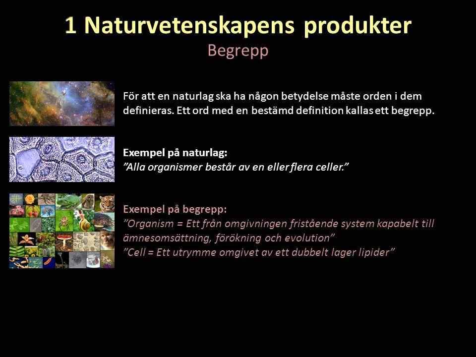 """Begrepp Exempel på begrepp: """"Organism = Ett från omgivningen fristående system kapabelt till ämnesomsättning, förökning och evolution"""" """"Cell = Ett utr"""