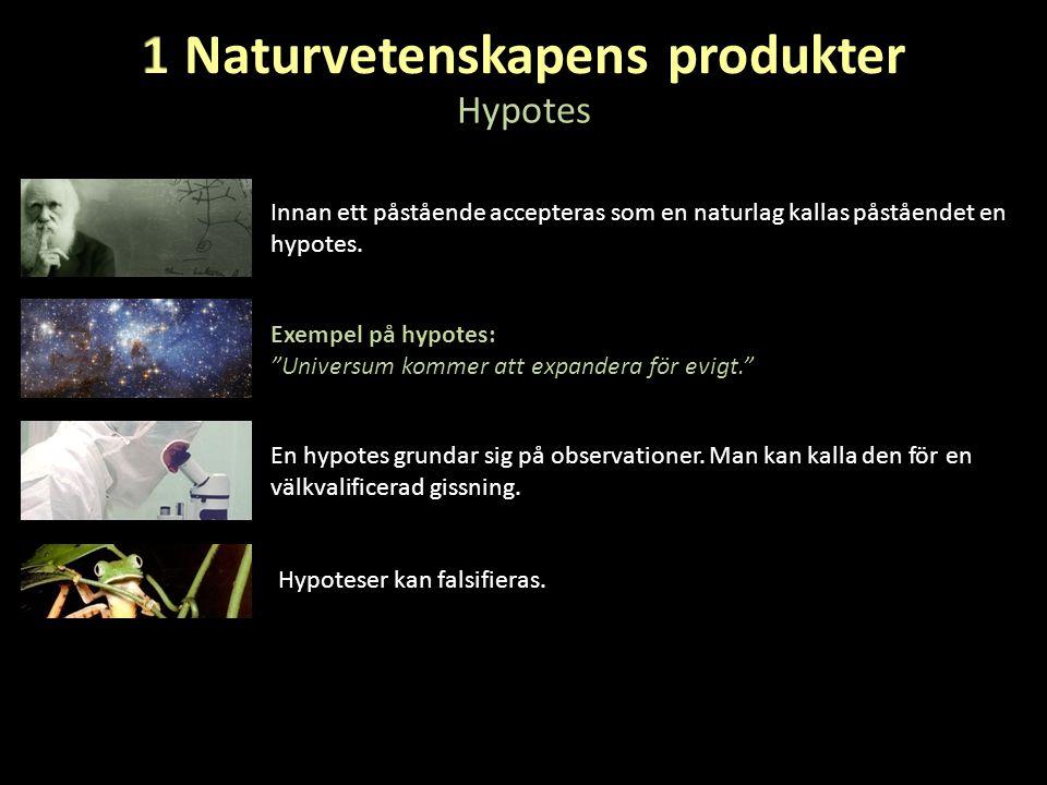 """Hypotes Innan ett påstående accepteras som en naturlag kallas påståendet en hypotes. Exempel på hypotes: """"Universum kommer att expandera för evigt."""" E"""
