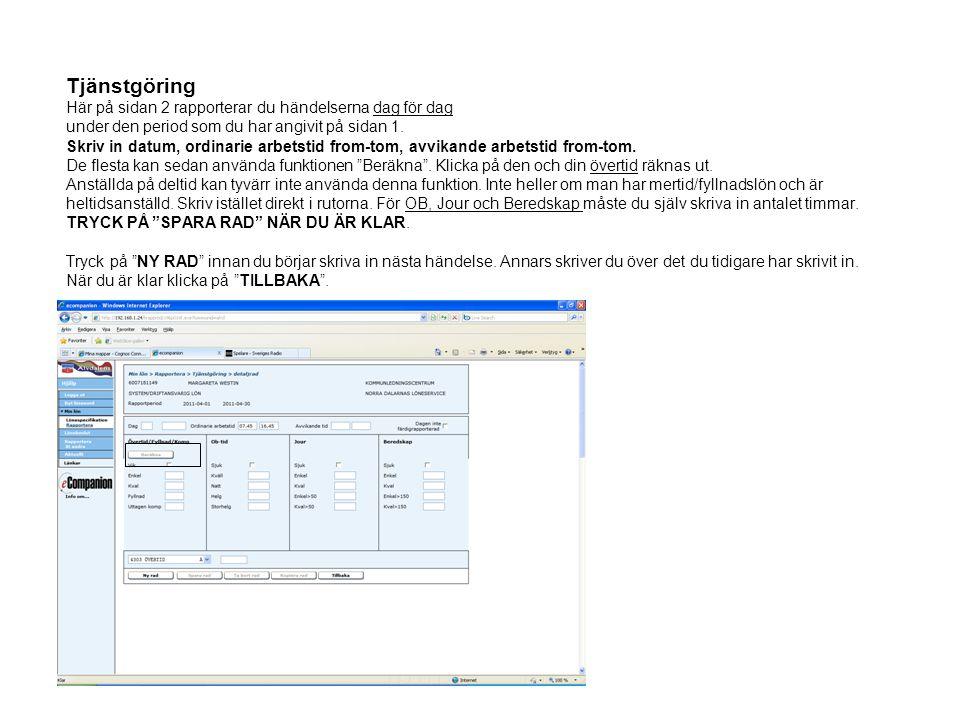 Resor Rapporten består av 2 sidor.En samlingssida, sidan 1, och en detaljsida, sidan 2.