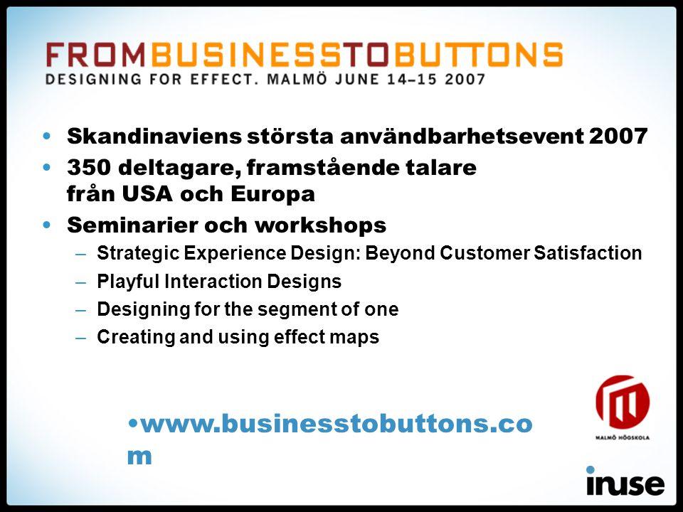 •Skandinaviens största användbarhetsevent 2007 •350 deltagare, framstående talare från USA och Europa •Seminarier och workshops –Strategic Experience