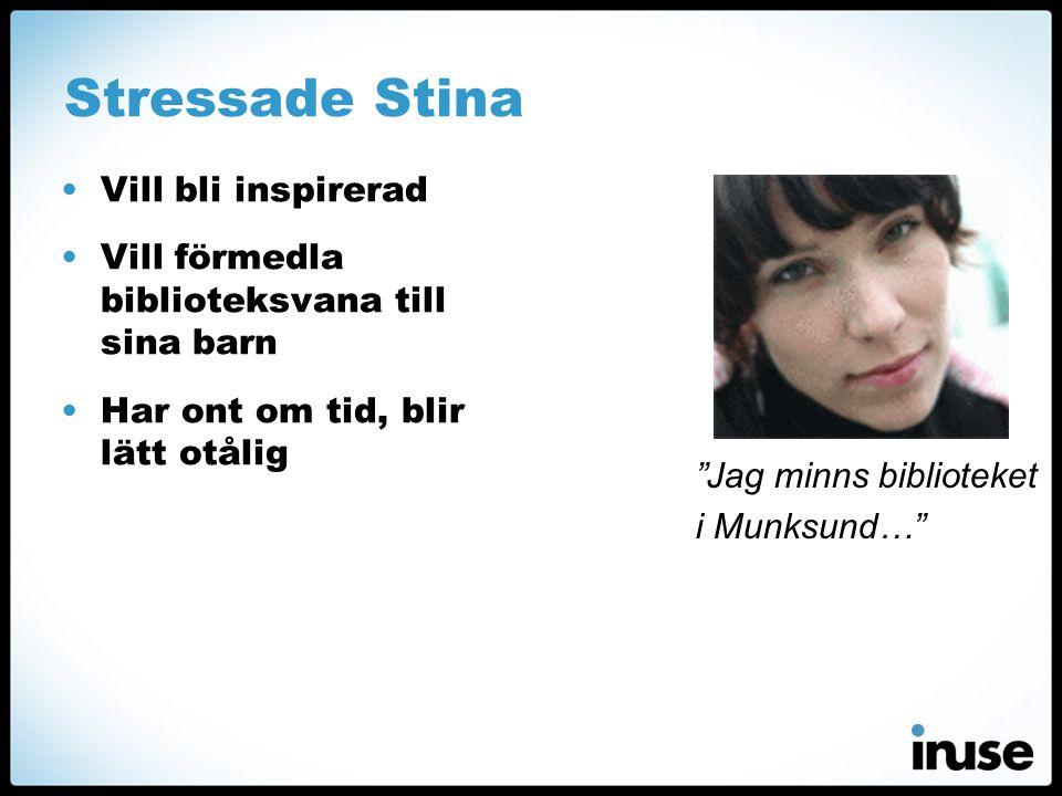 Stressade Stina •Vill bli inspirerad •Vill förmedla biblioteksvana till sina barn •Har ont om tid, blir lätt otålig Jag minns biblioteket i Munksund…