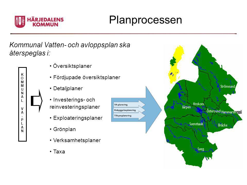Planprocessen Kommunal Vatten- och avloppsplan ska återspeglas i: KOMMUNAL VA-PLANKOMMUNAL VA-PLAN • Översiktsplaner • Fördjupade översiktsplaner • De