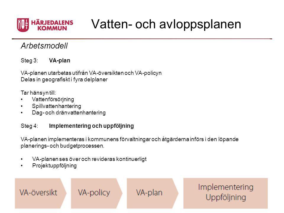 Vatten- och avloppsplanen Arbetsmodell Steg 3: VA-plan VA-planen utarbetas utifrån VA-översikten och VA-policyn Delas in geografiskt i fyra delplaner