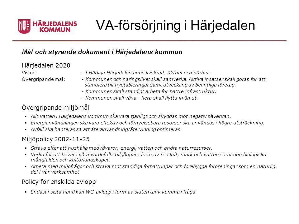 VA-försörjning i Härjedalen Mål och styrande dokument i Härjedalens kommun Översiktsplan för Härjedalens kommun antagen 2004-09-20.