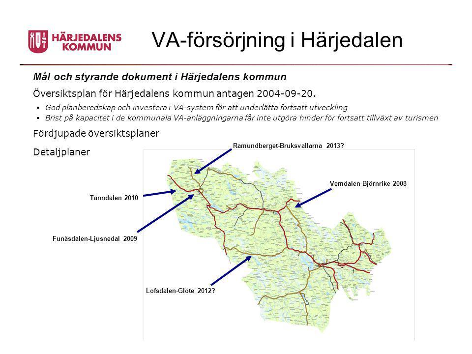 VA-försörjning i Härjedalen Mål och styrande dokument i Härjedalens kommun Översiktsplan för Härjedalens kommun antagen 2004-09-20.  God planberedska